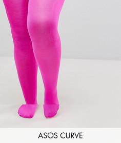 Блестящие розовые колготки 90 ден ASOS CURVE - Розовый