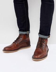 Светло-коричневые кожаные ботинки на шнуровке с контрастными вставками ASOS - Рыжий