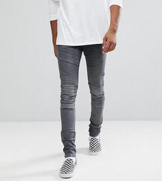 Черные выбеленные джинсы скинни в байкерском стиле ASOS TALL - Черный