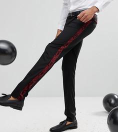 Бархатные облегающие брюки ASOS TALL - Черный