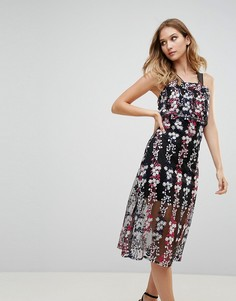 Платье миди с цветочной вышивкой Rd & Koko - Черный