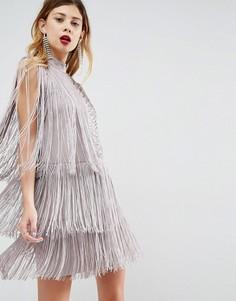 Платье мини с бахромой ASOS Premium - Серый
