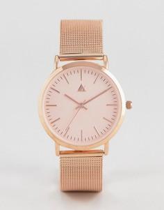 Часы цвета розового золота с сетчатым серебристым ремешком ASOS - Медный
