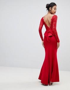 Платье макси с кружевным топом и бантом сзади City Goddess - Красный