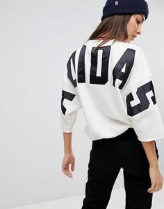 Меланжевый свитшот с логотипом на спине adidas Originals - Черный