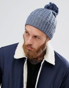 Синяя шапка-бини с узором в косичку и помпоном ASOS - Синий