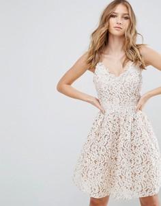 Платье мини с кружевом Little Mistress - Белый