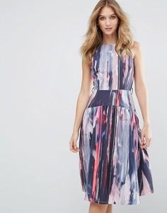 Приталенное платье миди с принтом Little Mistress - Мульти
