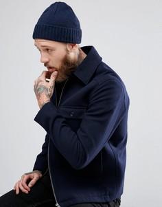 Темно-синяя шапка-бини из овечьей шерсти ASOS - Темно-синий