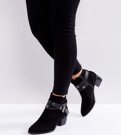 Ботинки для широкой стопы с ремешками и пряжками в стиле вестерн Truffle Collection - Черный