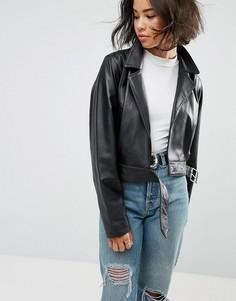 Мягкая кожаная куртка в стиле 80-х ASOS - Черный