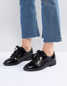 Кожаные туфли на плоской подошве ASOS MONDAY - Черный