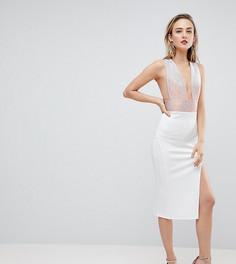 Облегающее платье миди с глубоким вырезом ASOS TALL - Белый