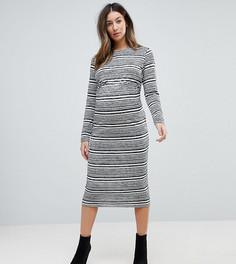 Облегающее платье в полоску с перекрутом на спине ASOS MATERNITY - Серый