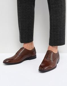 Коричневые кожаные оксфордские туфли с тиснением на вставках ASOS - Коричневый