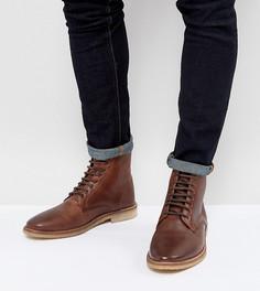 Светло-коричневые кожаные ботинки на шнуровке для широкой стопы ASOS - Коричневый