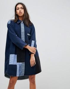 Платье в стиле пэчворк Waven Jonna - Темно-синий