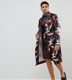 Атласный халат с принтом лебедей ASOS - Черный