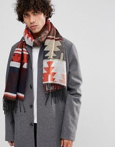 Широкий шарф с ацтекским узором ASOS - Красный