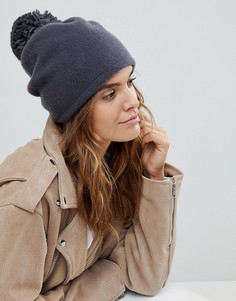 Темно-серая шапка с помпоном Helene Berman - Серый