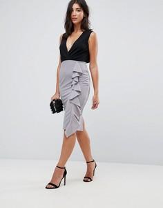 Платье миди 2 в 1 с оборкой AX Paris - Черный