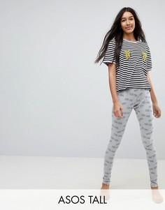 Пижама из футболки и леггинсов с вышитыми бананами и надписью Tres Cool ASOS TALL - Мульти