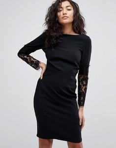 Платье-футляр с кружевными рукавами Paper Dolls - Черный