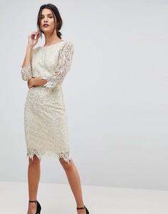 Ажурное платье-футляр с рукавами длиной 3/4 Paper Dolls - Кремовый
