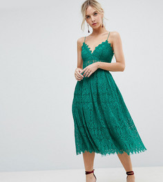Кружевное платье миди для выпускного ASOS PETITE - Зеленый