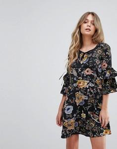 Свободное платье с завязками Yumi - Черный