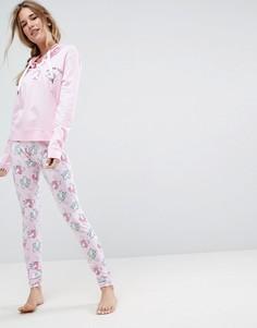 Пижамный комплект из свитшота с капюшоном и леггинсов ASOS - Розовый