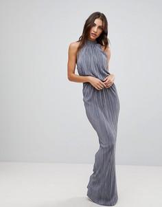 Плиссированное платье макси Love - Серый