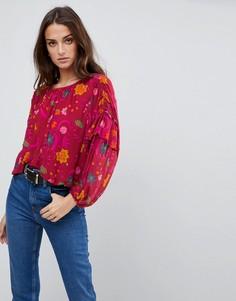 Блузка с цветочным принтом Free People - Фиолетовый