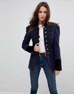 Структурированная куртка в стиле милитари с отделкой Free People - Темно-синий