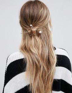 Заколка для волос с контурной звездой Glamorous - Золотой