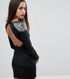 Облегающее платье мини с отделкой на плечах и открытой спиной ASOS PETITE - Черный