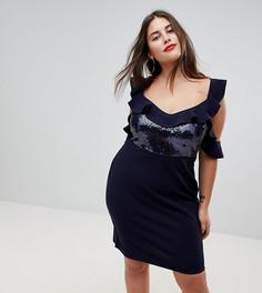 Платье мини с пайетками NaaNaa Plus - Темно-синий