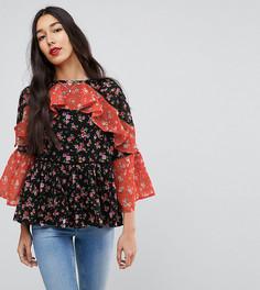 Комбинируемая блузка с цветочным принтом и оборками ASOS TALL - Мульти