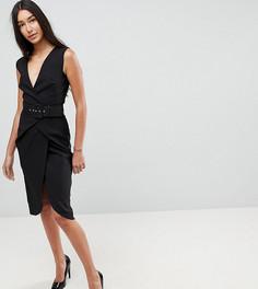 Платье-футляр миди с запахом и поясом ASOS TALL - Черный