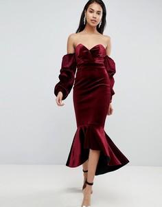 Бархатное облегающее платье миди с открытыми плечами и баской ASOS PREMIUM - Красный