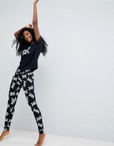Пижама из футболки и леггинсов с надписью ASOS - Черный