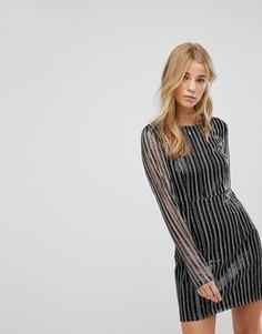 Платье в полоску из пайеток с длинными рукавами Honey Punch - Черный