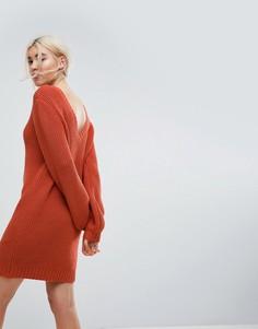 Вязаное платье мини с V-образным вырезом на спине ASOS - Красный