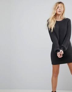 Вязаное платье мини с V-образным вырезом на спине ASOS - Серый