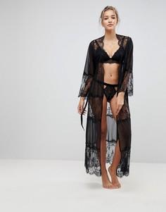 Длинный халат с кружевом и сеточкой ASOS - Черный