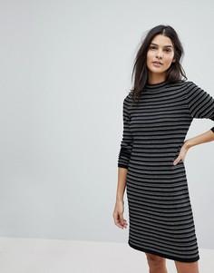 Трикотажное платье в полоску Esprit - Черный