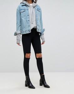 Супероблегающие джинсы с вырезами на коленях Dr Denim - Черный