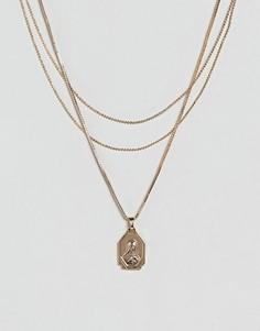 Ожерелье в винтажном стиле в несколько рядов ASOS - Золотой
