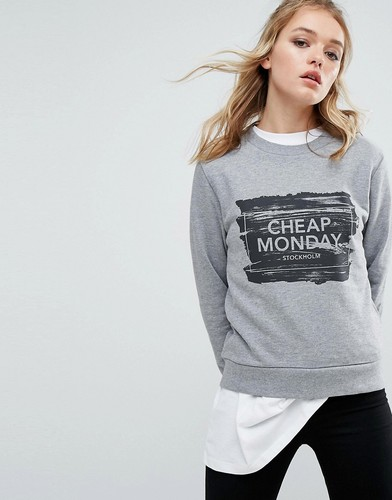 Свитшот с логотипом Cheap Monday - Серый