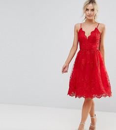 Кружевное платье миди с фигурными краями Chi Chi London Petite Premium - Красный